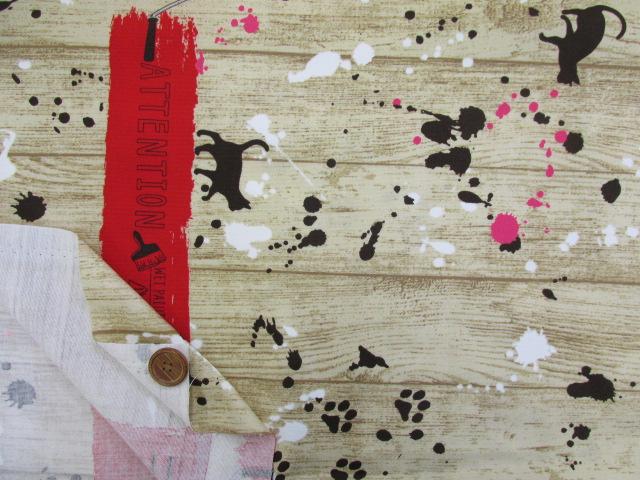 画像3: ■ネコ・ペイント・ペンキ・英字・肉球柄 両耳ボーダー オックス生地(赤) はぎれ1m30cm