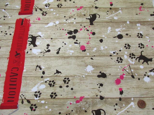 画像2: ■ネコ・ペイント・ペンキ・英字・肉球柄 両耳ボーダー オックス生地(赤) はぎれ1m30cm