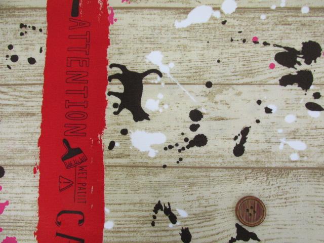 画像1: ■ネコ・ペイント・ペンキ・英字・肉球柄 両耳ボーダー オックス生地(赤) はぎれ1m30cm