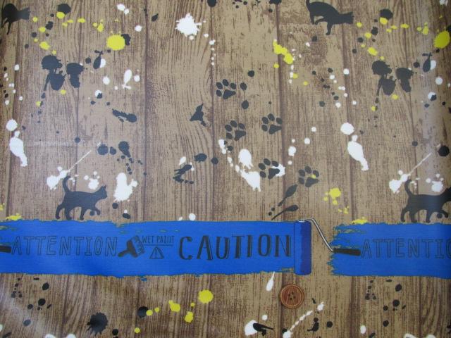 画像3: ネコ・ペイント・ペンキ・英字・肉球柄 両耳ボーダー オックス生地 ラミネート はぎれ40cm↑(青)