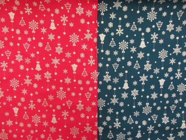画像1: ジングルベル・ツリー・結晶・クリスマス柄 シーチング生地 ラメ入り
