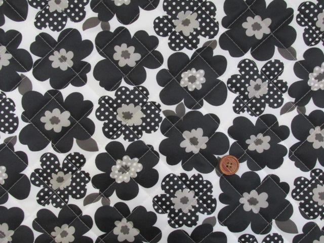 画像2: 撥水加工 ナイロンオックス生地 北欧調 モダンフラワー・花柄 半針キルト生地 はぎれ20cm(ブラック)