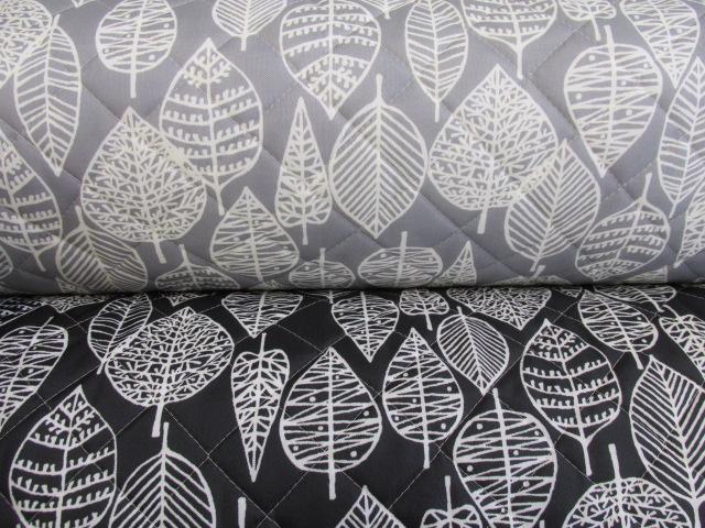 画像1: 撥水加工 ナイロンオックス生地 北欧風 葉柄・カスビィ(植物) 半針キルト生地