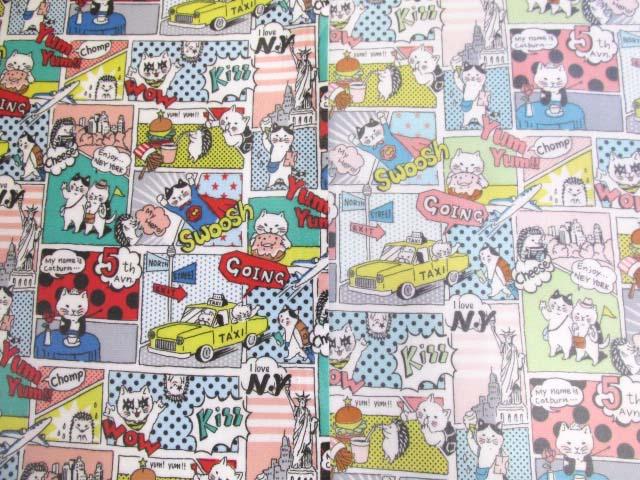 画像1: アメコミ風 ネコとハリネズミのワールドツアー柄 オックス生地 ラミネート 半ツヤ