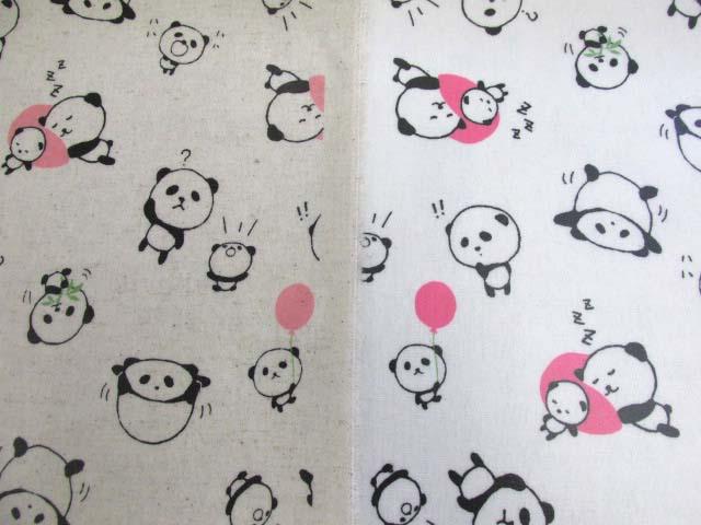 画像1: 綿麻キャンバス ころころパンダ・バルーン柄 ラミネート つや消し