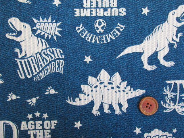 画像1: 🍀デニム調 恐竜・リバーシブル・ストライプ柄 オックス生地(ブルー) はぎれ1m10cm