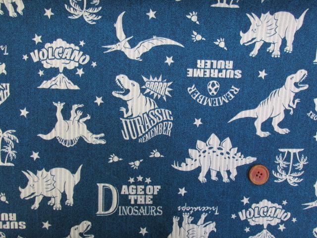 画像2: 🍀デニム調 恐竜・リバーシブル・ストライプ柄 オックス生地(ブルー) はぎれ1m10cm
