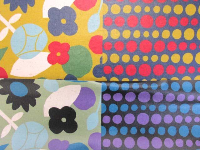 画像1: 綿麻キャンバス 北欧風 ハーフデザイン フラワー ドット ラミネート つや消し↑