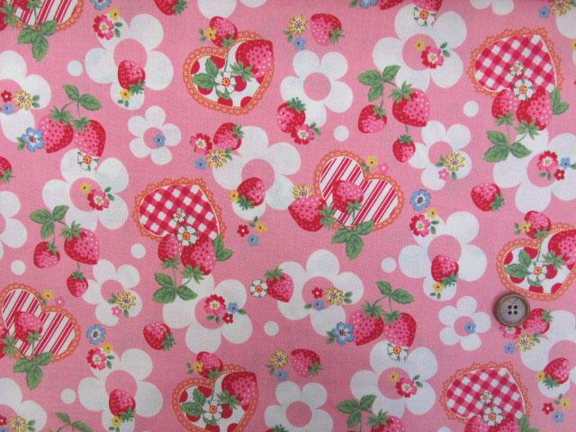 画像2: (3)ベリーコットン 苺 花 ハート シーチング生地 (ピンク)はぎれ95cm