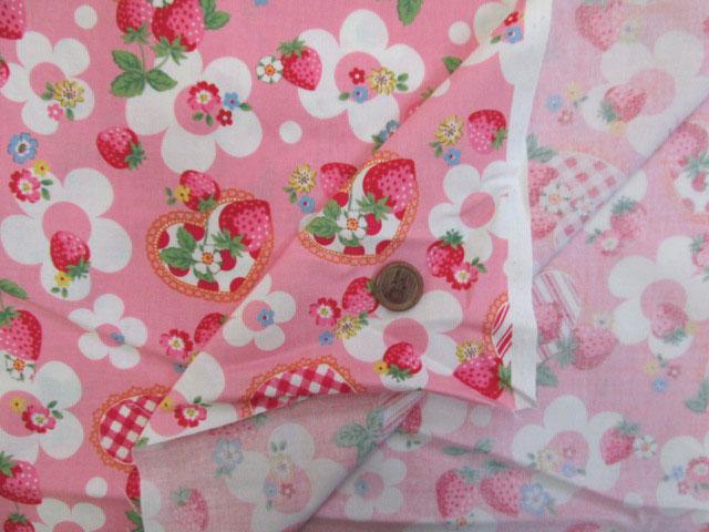 画像3: (3)ベリーコットン 苺 花 ハート シーチング生地 (ピンク)はぎれ95cm