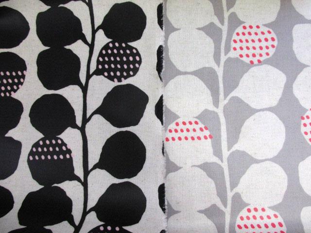 画像1: 綿麻キャンバス 北欧風 カスビィ(植物)・木の葉柄 ラミネート