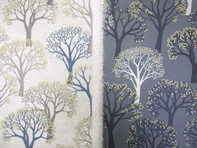 画像1: 綿麻キャンバス ナチュラルツリー フォレスト柄 ラメ入り ラミネート