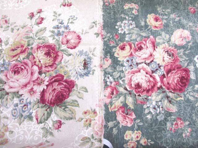 画像1: 綿麻キャンバス ローズブーケ(大柄)フラワー・花柄