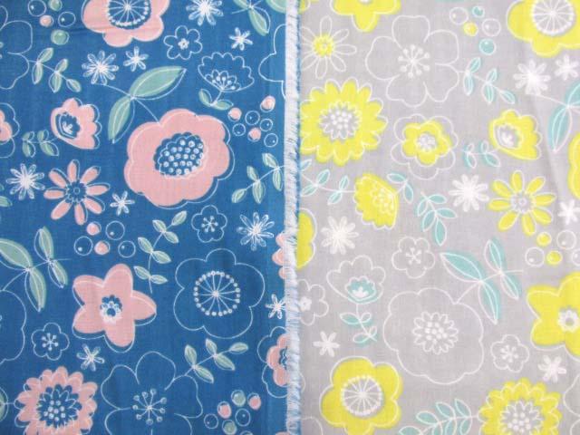 画像1: Wガーゼ生地 北欧調 ファンシーフラワー・花柄