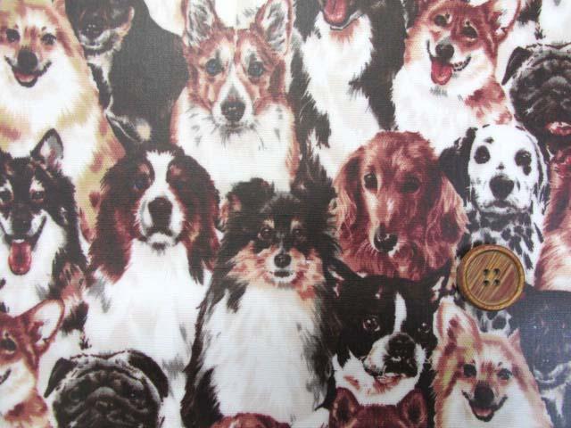 画像1: わんちゃん大集合・イヌ・犬柄 オックス生地 ラミネート はぎれ80cm↑(セピア)