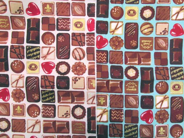 画像1: チョコレート・お菓子柄 ゴールドラメ入り オックス生地