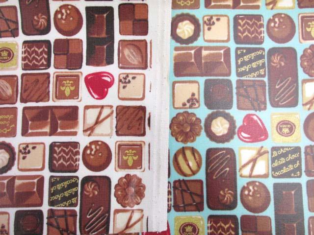 画像1: 値下げしました!チョコレート・お菓子柄 ゴールドラメ入り オックス生地 ラミネート 半ツヤ↑