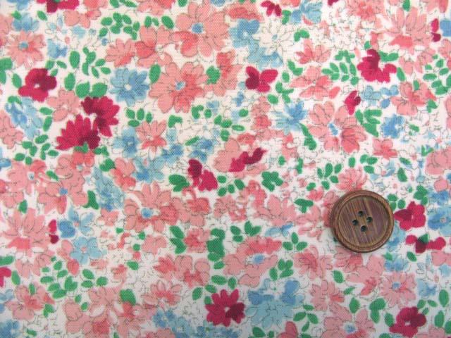 画像1: (2)撥水加工 ナイロンオックス生地 クラシカルフラワー・花柄(ピンク)はぎれ30cm