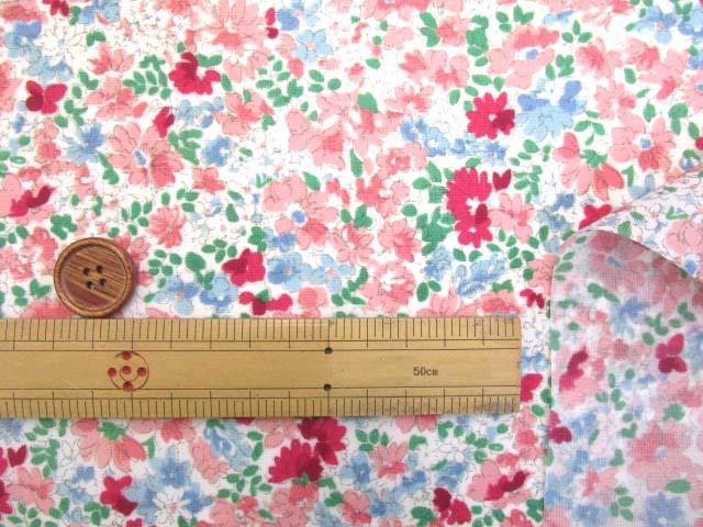 画像3: (2)撥水加工 ナイロンオックス生地 クラシカルフラワー・花柄(ピンク)はぎれ30cm