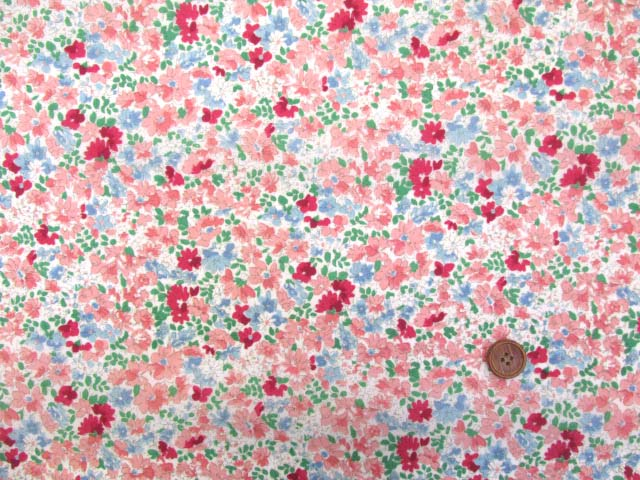 画像2: (2)撥水加工 ナイロンオックス生地 クラシカルフラワー・花柄(ピンク)はぎれ30cm