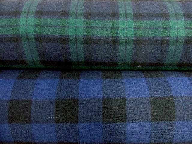 画像1: 130cm巾 綿麻レーヨン チェック柄 シャンブレー生地