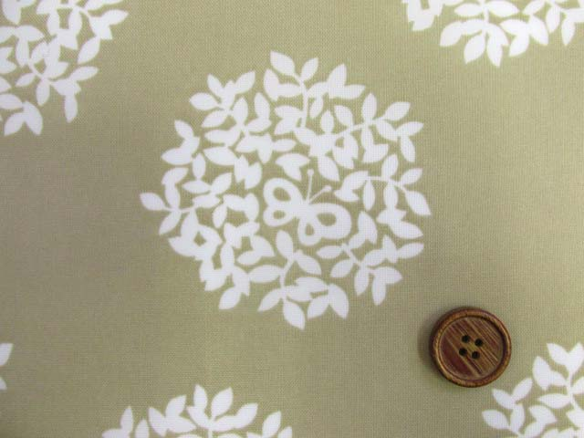 画像1: (2)撥水加工 ナイロンオックス生地 アジサイ・フラワーサークル・花柄 はぎれ25cm(ベージュ)
