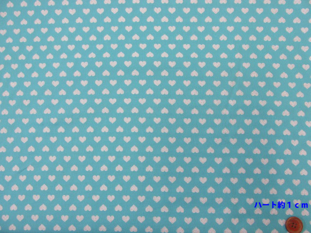 画像2: ☆シルバーラメ・ハート柄 (パステル系) オックス生地 はぎれ50cm(ミントブルー)