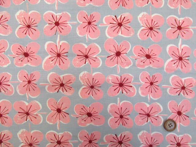 画像2: (4)ファンシーポップフラワー・花柄 シーチング生地 はぎれ55cm(グレー×ピンク)