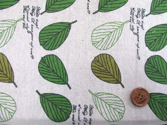 画像1: キャンバス生地 葉っぱ 英字 約145cm幅×長さ約1m カットはぎれ