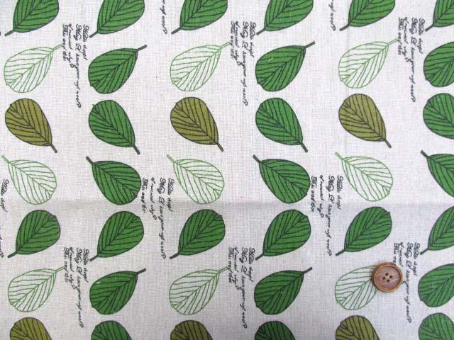 画像2: キャンバス生地 葉っぱ 英字 約145cm幅×長さ約1m カットはぎれ