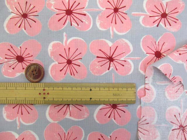 画像3: (4)ファンシーポップフラワー・花柄 シーチング生地 はぎれ55cm(グレー×ピンク)