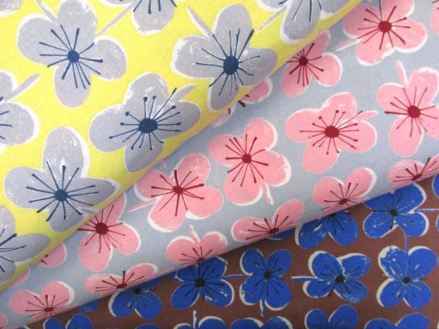 画像1: ファンシーポップフラワー・花柄 シーチング生地