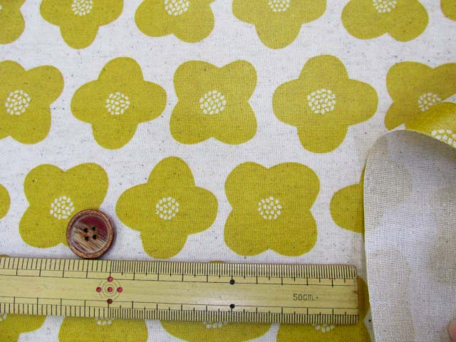 画像3: 綿麻キャンバス シンプルフラワー・花柄 ラミネート はぎれ25cm↑(マスタード)