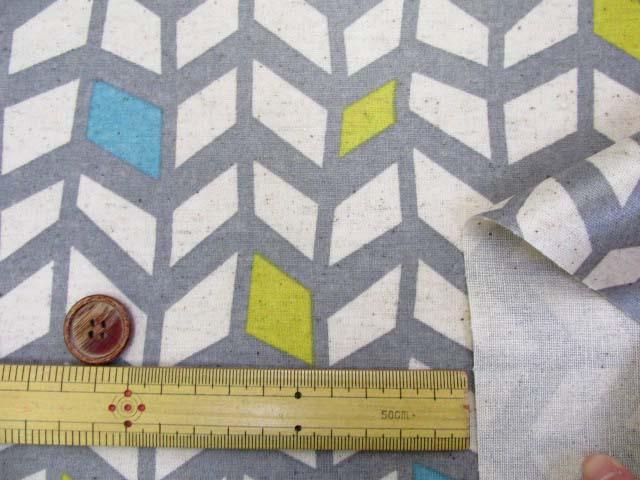 画像3: 綿麻キャンバス 北欧調 アートデザイン柄 ラミネート はぎれ35cm↑(グレー地)