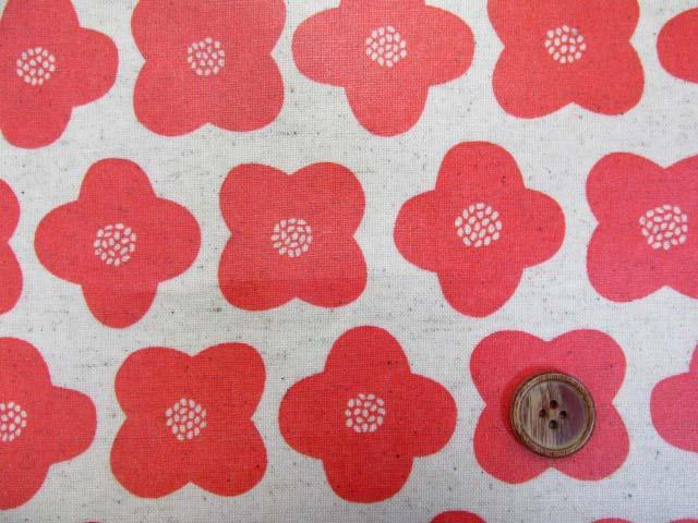 画像1: 綿麻キャンバス シンプルフラワー・花柄 ラミネート はぎれ40cm↑(オレンジ)