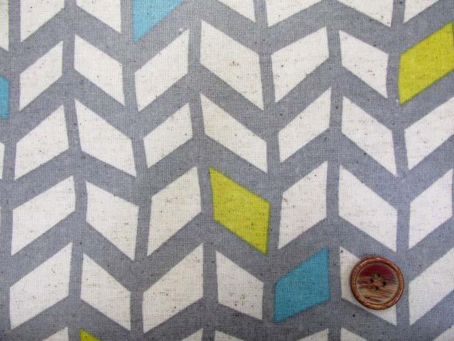 画像1: 綿麻キャンバス 北欧調 アートデザイン柄 ラミネート はぎれ35cm↑(グレー地)