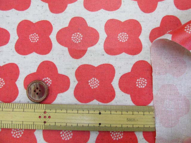 画像3: 綿麻キャンバス シンプルフラワー・花柄 ラミネート はぎれ40cm↑(オレンジ)