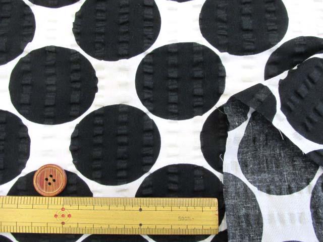 画像3: (2)ドット・水玉柄 リップル生地 はぎれ30cm(ブラック)