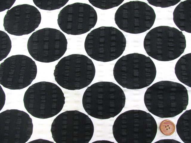 画像2: (2)ドット・水玉柄 リップル生地 はぎれ30cm(ブラック)