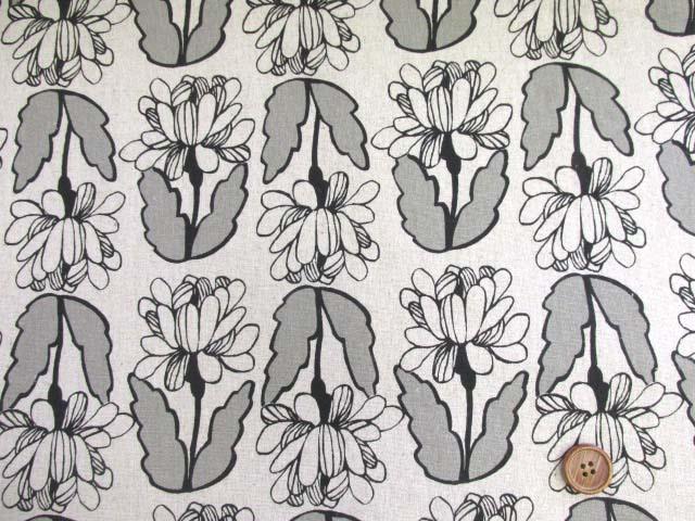 画像2: ハーフリネン キャンバス クラシカルフラワーガーデン・花柄