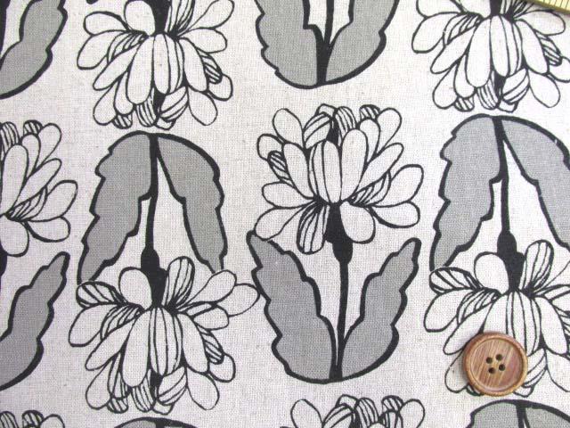 画像1: ハーフリネン キャンバス クラシカルフラワーガーデン・花柄