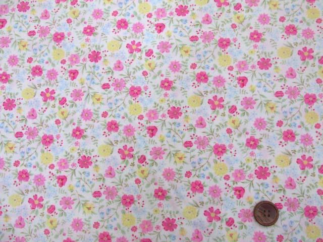 画像2: (3)ファンシーポップフラワー・花柄 ブロード生地 はぎれ40cm(レッドピンク)