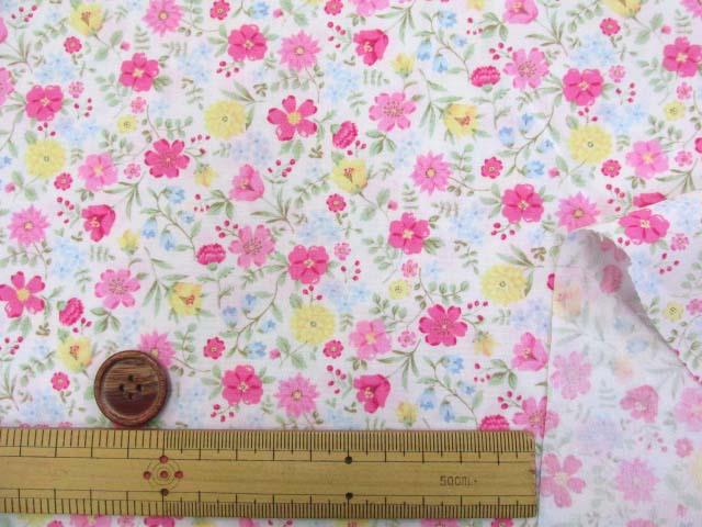 画像3: (3)ファンシーポップフラワー・花柄 ブロード生地 はぎれ40cm(レッドピンク)
