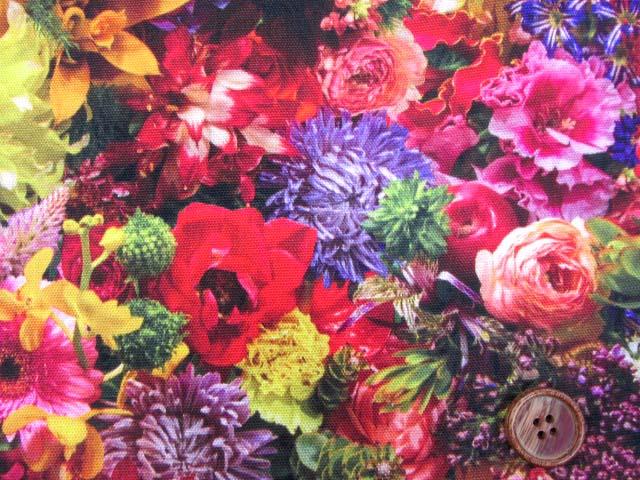 画像1: (5)フラワーシャワー・ガーデン・花柄 インクジェットプリント 20オックス生地 はぎれ15cm(ガーデン03)