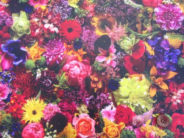 画像2: フラワーシャワー・ガーデン・花柄 インクジェットプリント 20オックス生地 (ガーデン03la)   ラミネートはぎれ1m10cm↑