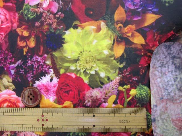 画像3: フラワーシャワー・ガーデン・花柄 インクジェットプリント 20オックス生地 (ガーデン03la)   ラミネートはぎれ1m10cm↑