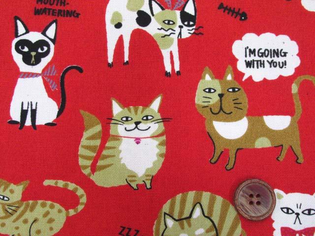 画像1: 🍀猫ネコランド柄 オックス生地 はぎれ70cm(レッド)