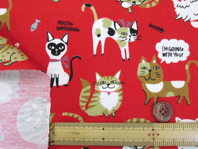 画像3: 🍀猫ネコランド柄 オックス生地 はぎれ70cm(レッド)