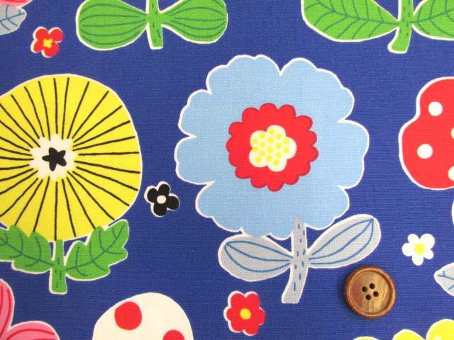 画像1: (3)北欧テイスト デザインフラワー・花柄 オックス生地 はぎれ1m10cm(ブルー)
