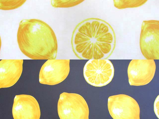 画像1: HPのみセール中!!2割引き価格!! レモン・フルーツ柄 ブロード生地   ラミネート つや消し